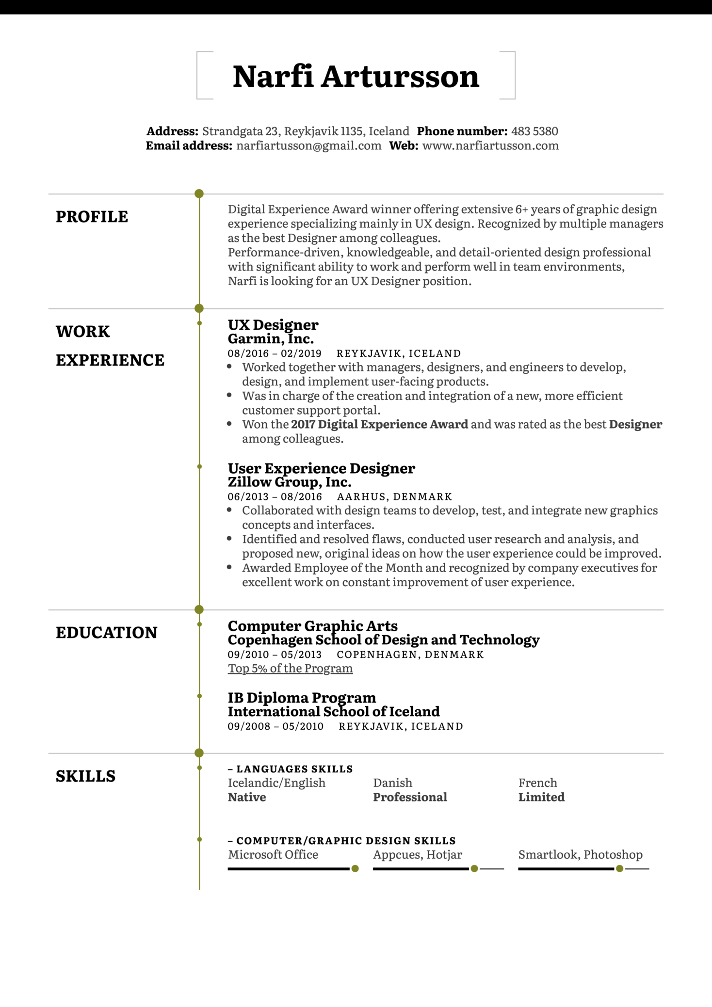 Resume Examples by Real People: UX Designer Resume Example | Kickresume
