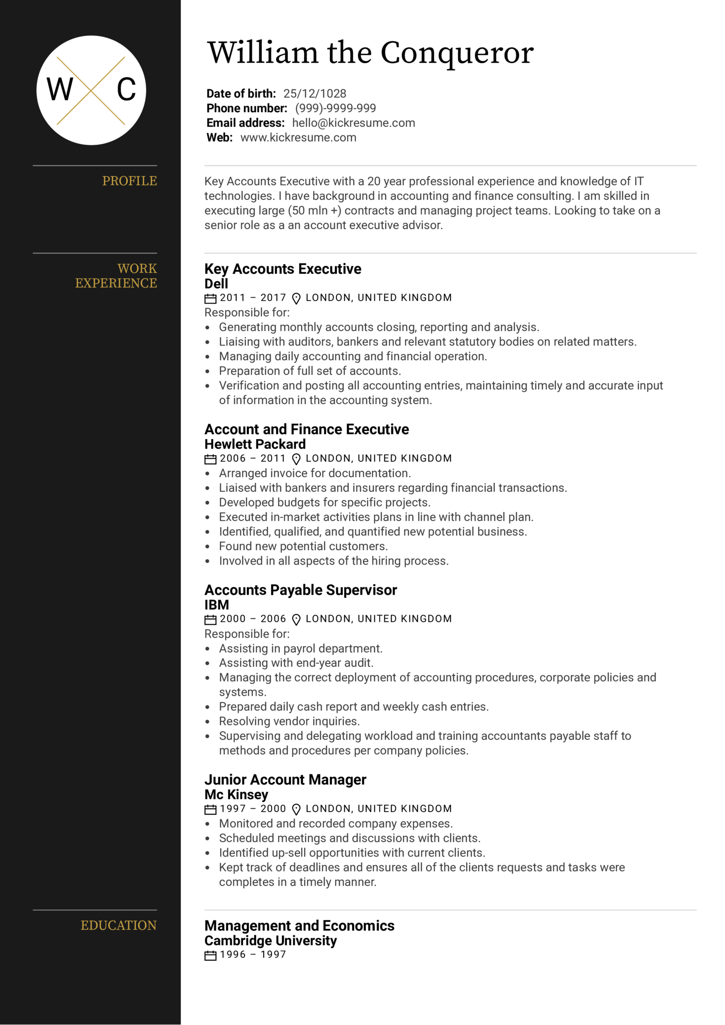 Executive Account Manager Resume Sample (Part 1)