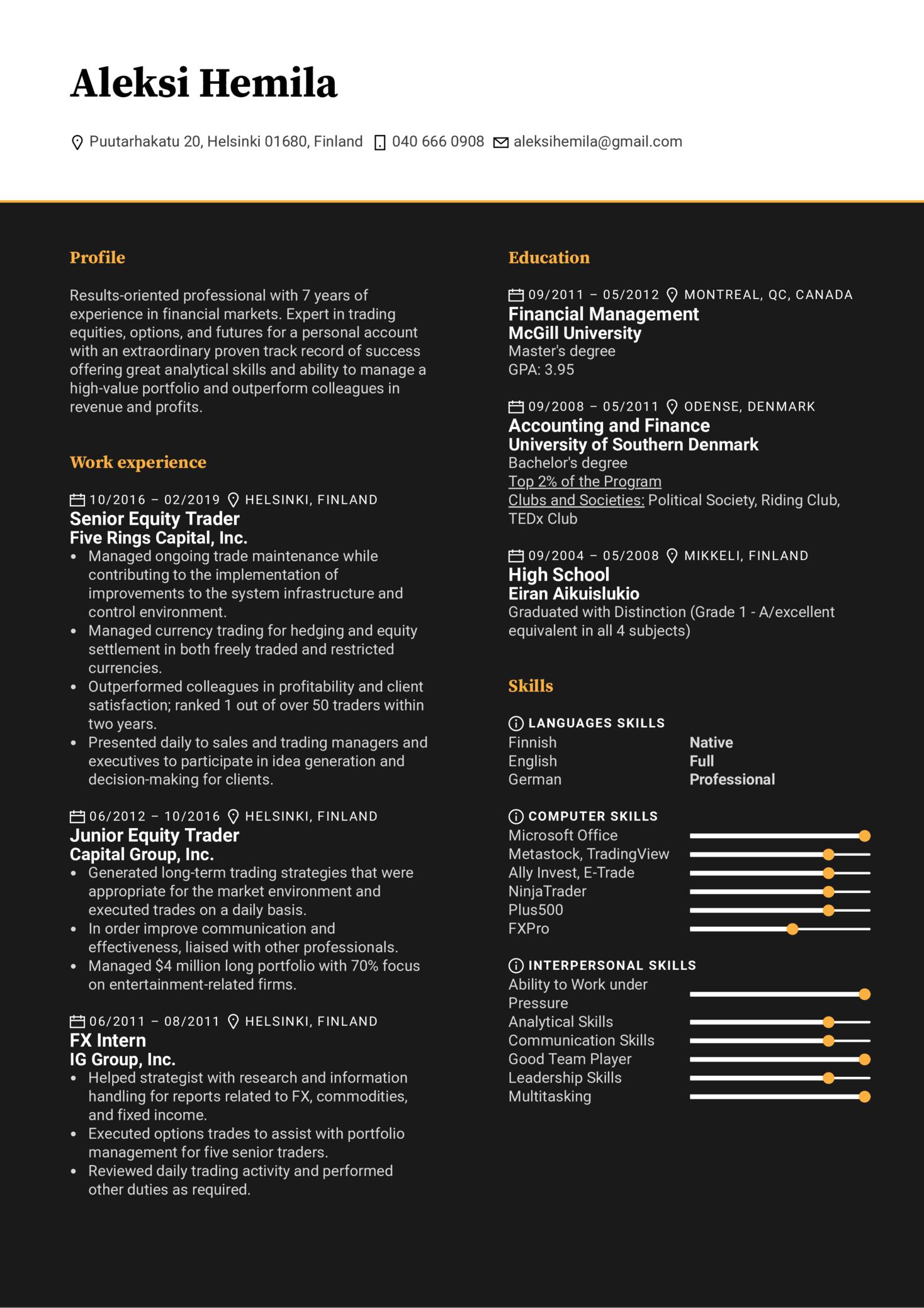 Senior Trader Resume Example (Part 1)