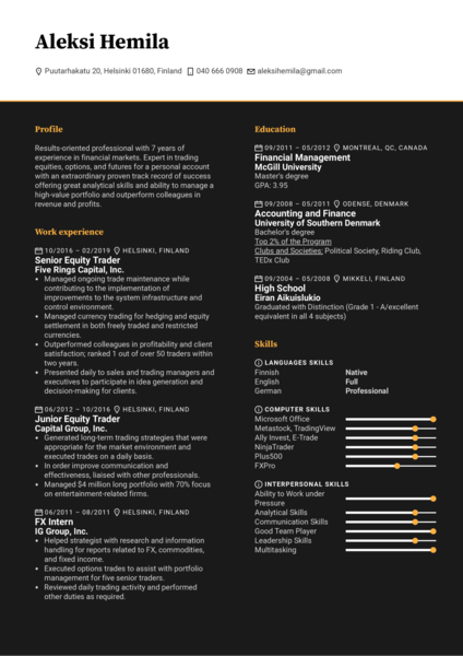 Senior Trader Resume Example