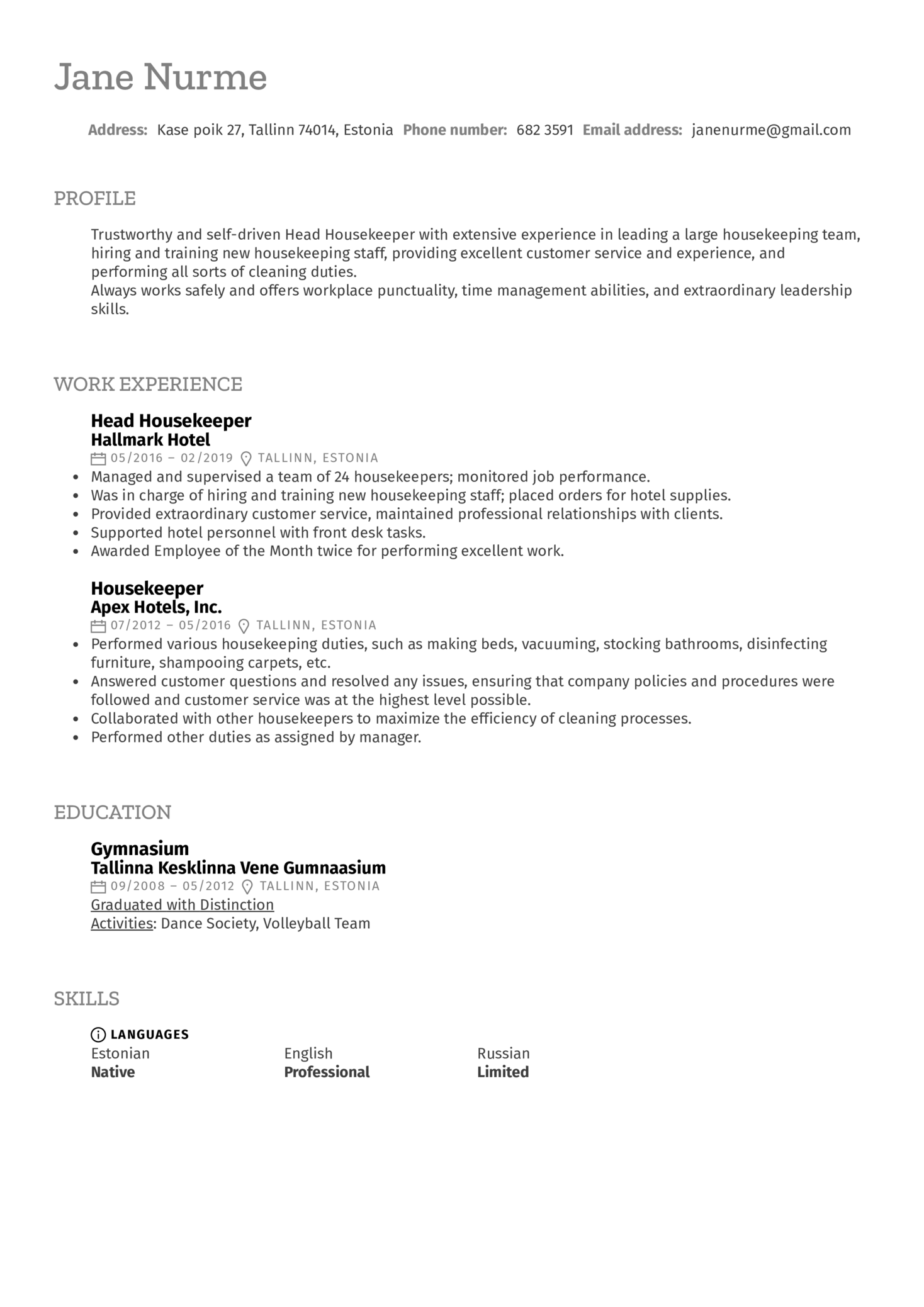 Head Housekeeper Resume Sample