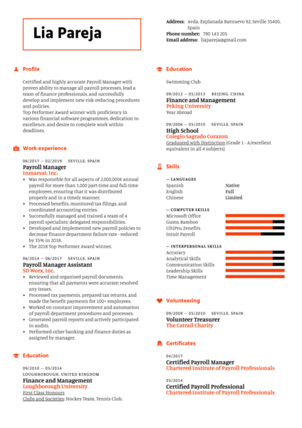 Payroll Manager Resume Example