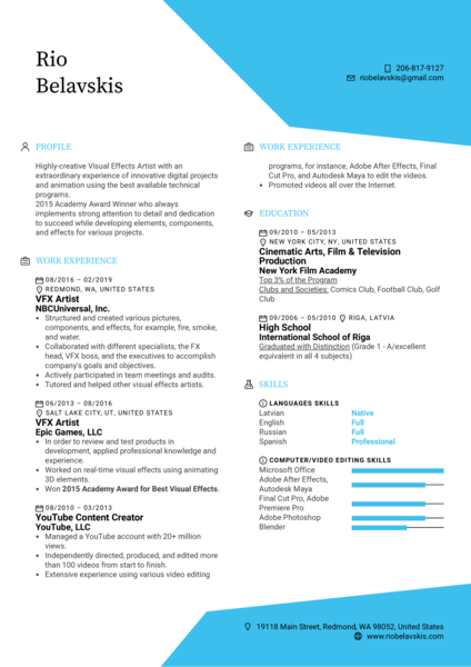 Visual Effects Artist Resume Template