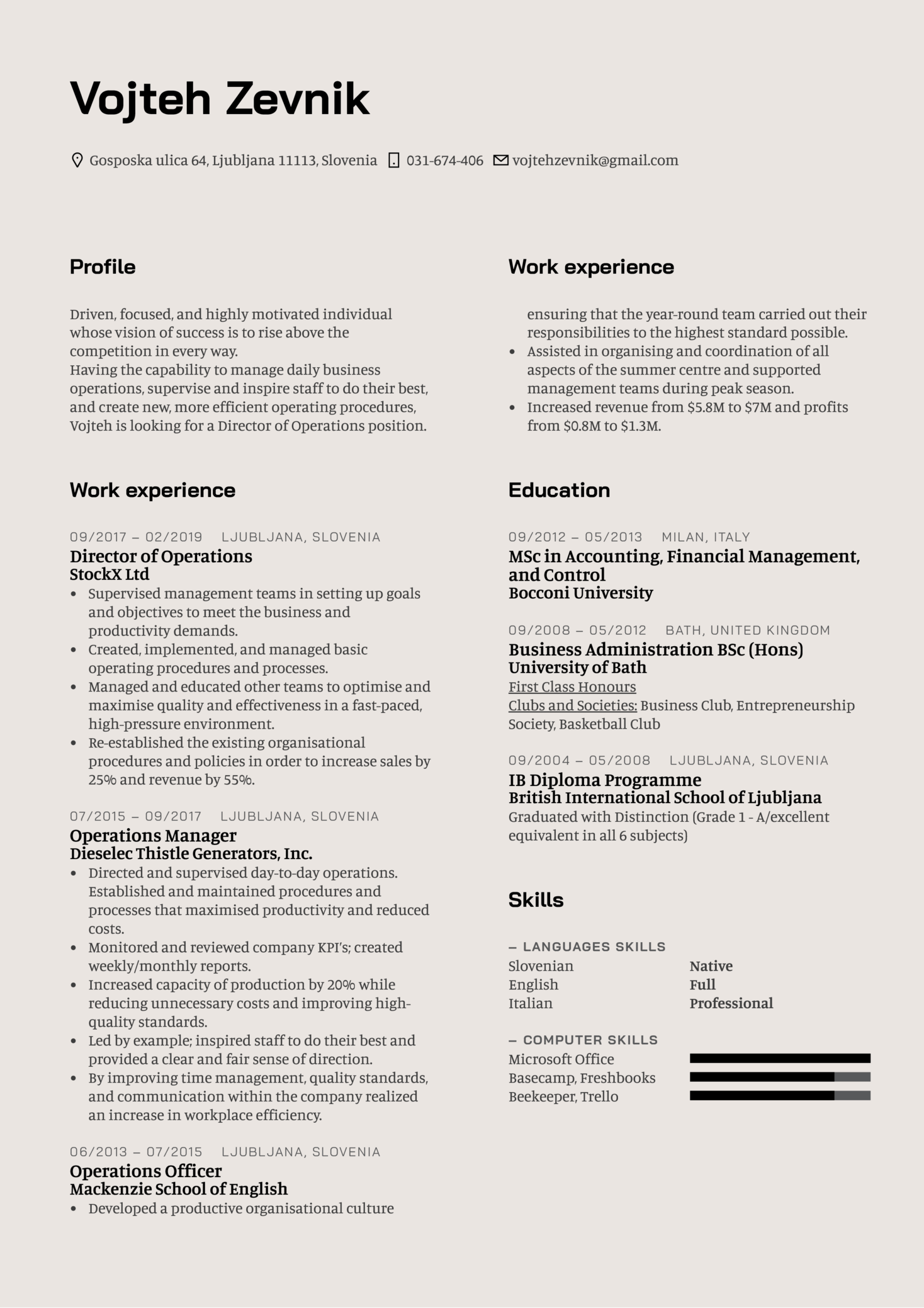 Director of Operations Resume Template (Part 1)