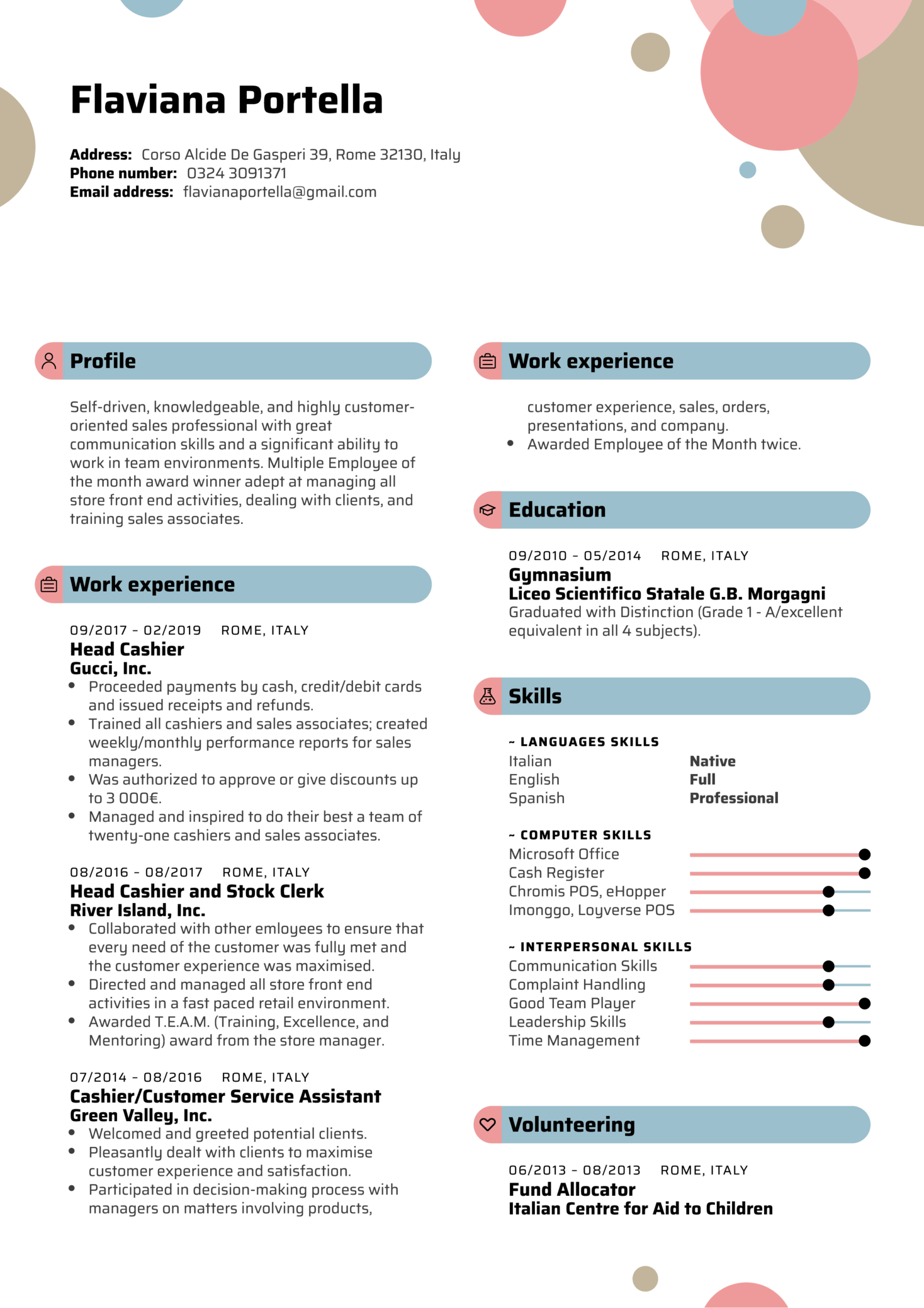 Head Cashier Resume Template (parte 1)