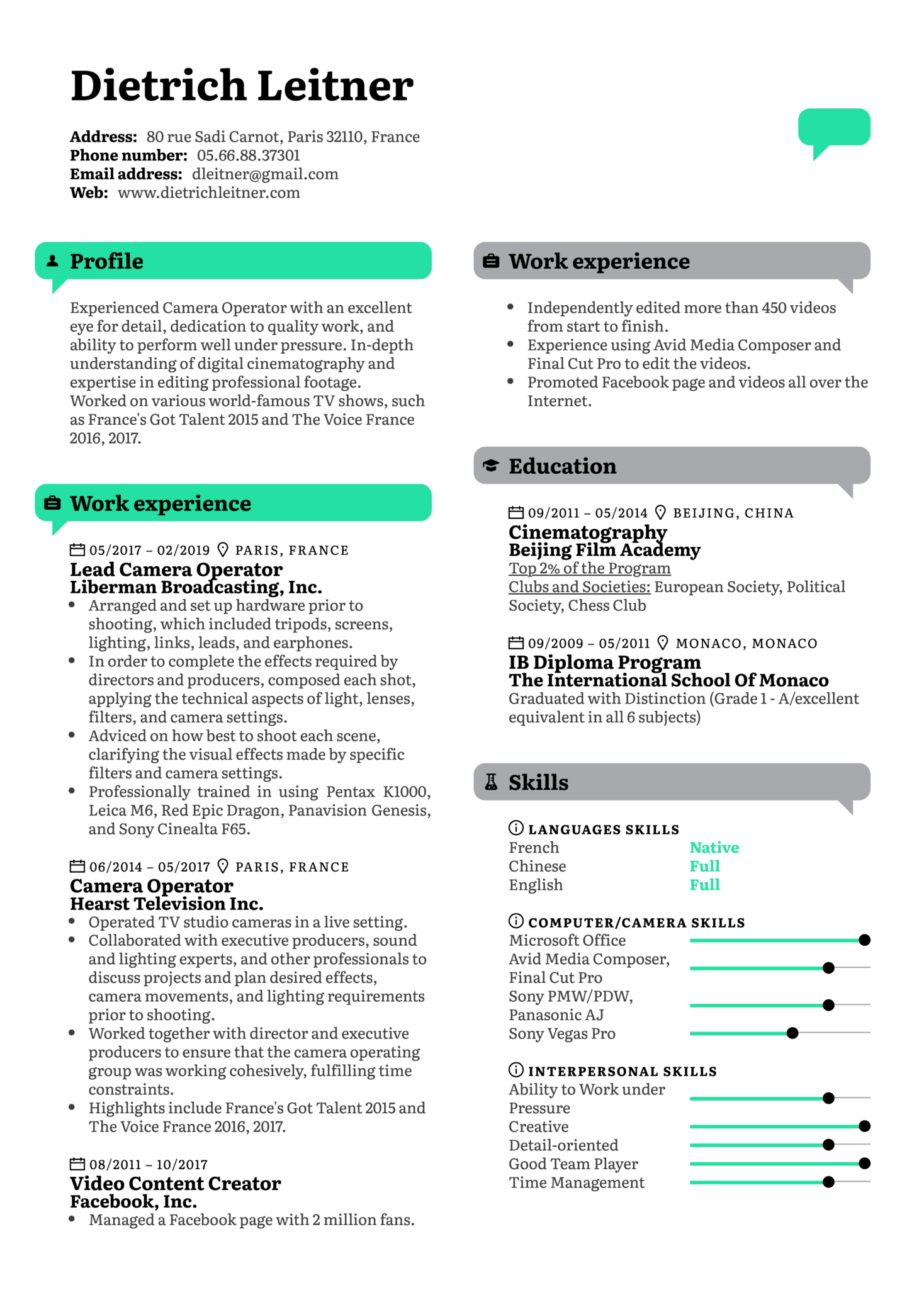 resume examples by real people  camera operator resume template