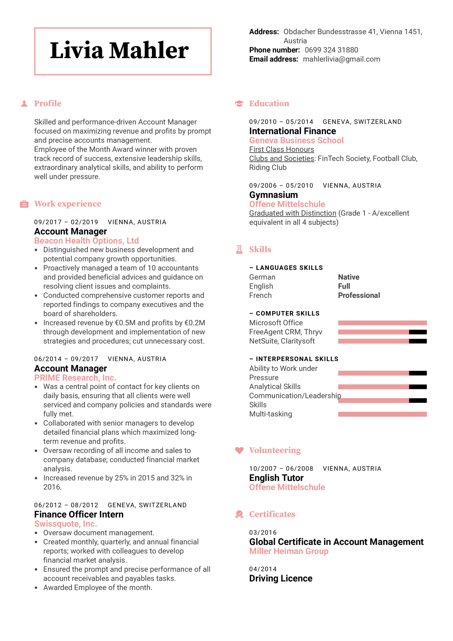 Resume Examples By Real People Account Manager Template