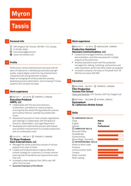 Executive Producer Resume Template