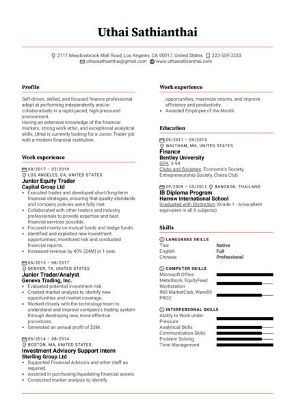Junior Trader Resume Template