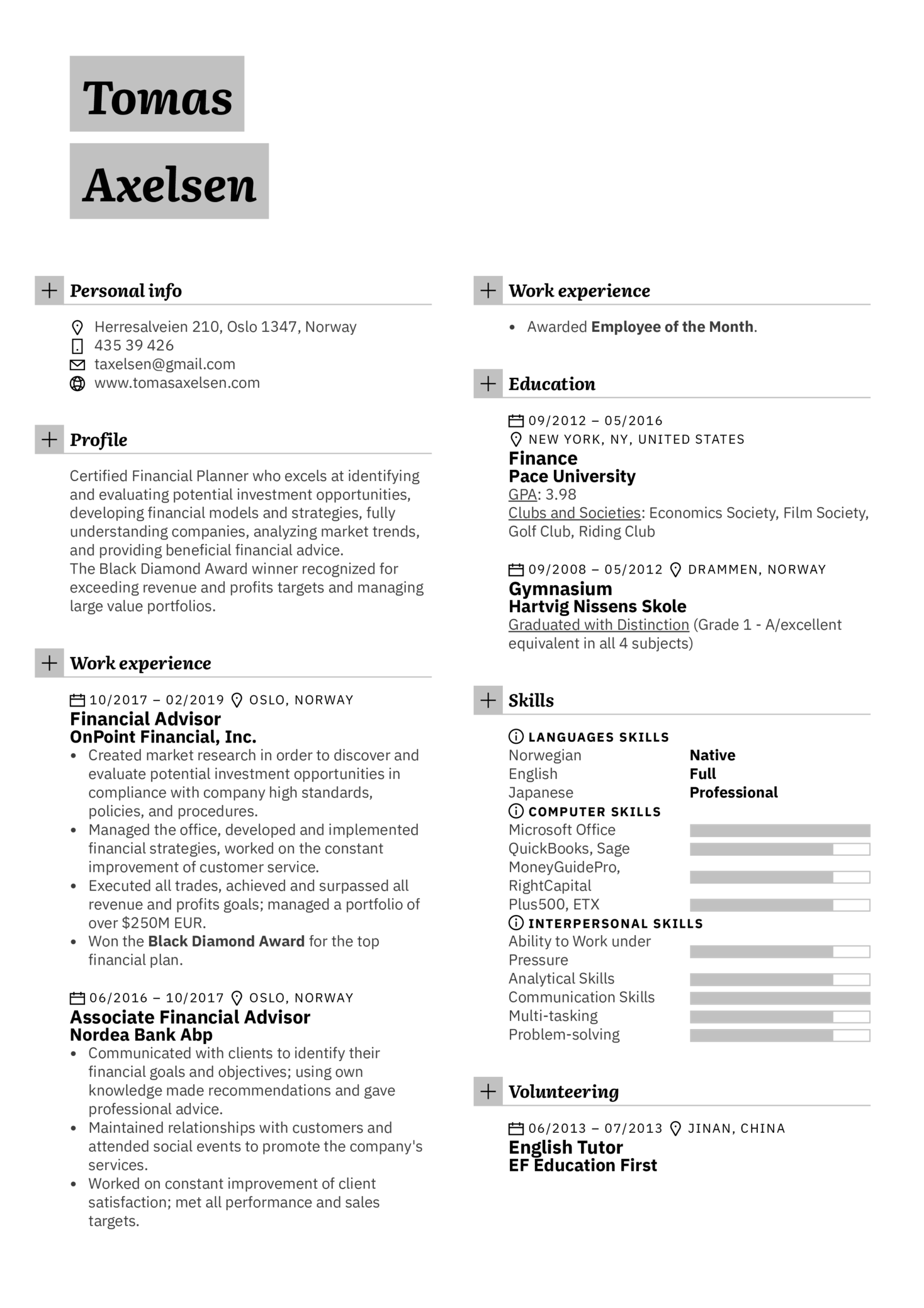 Resume Examples by Real People: Financial Advisor Resume ...