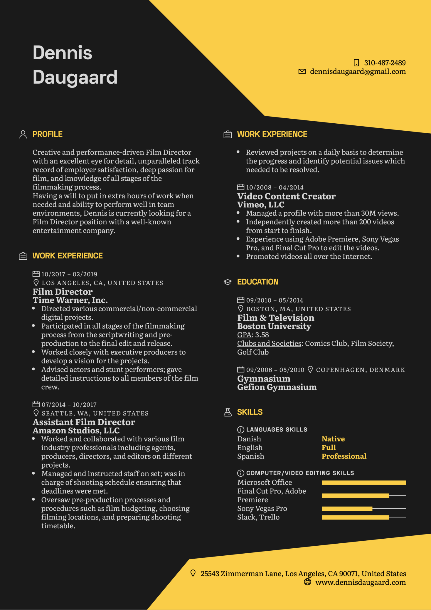 Resume Examples by Real People: Film Director Resume ...