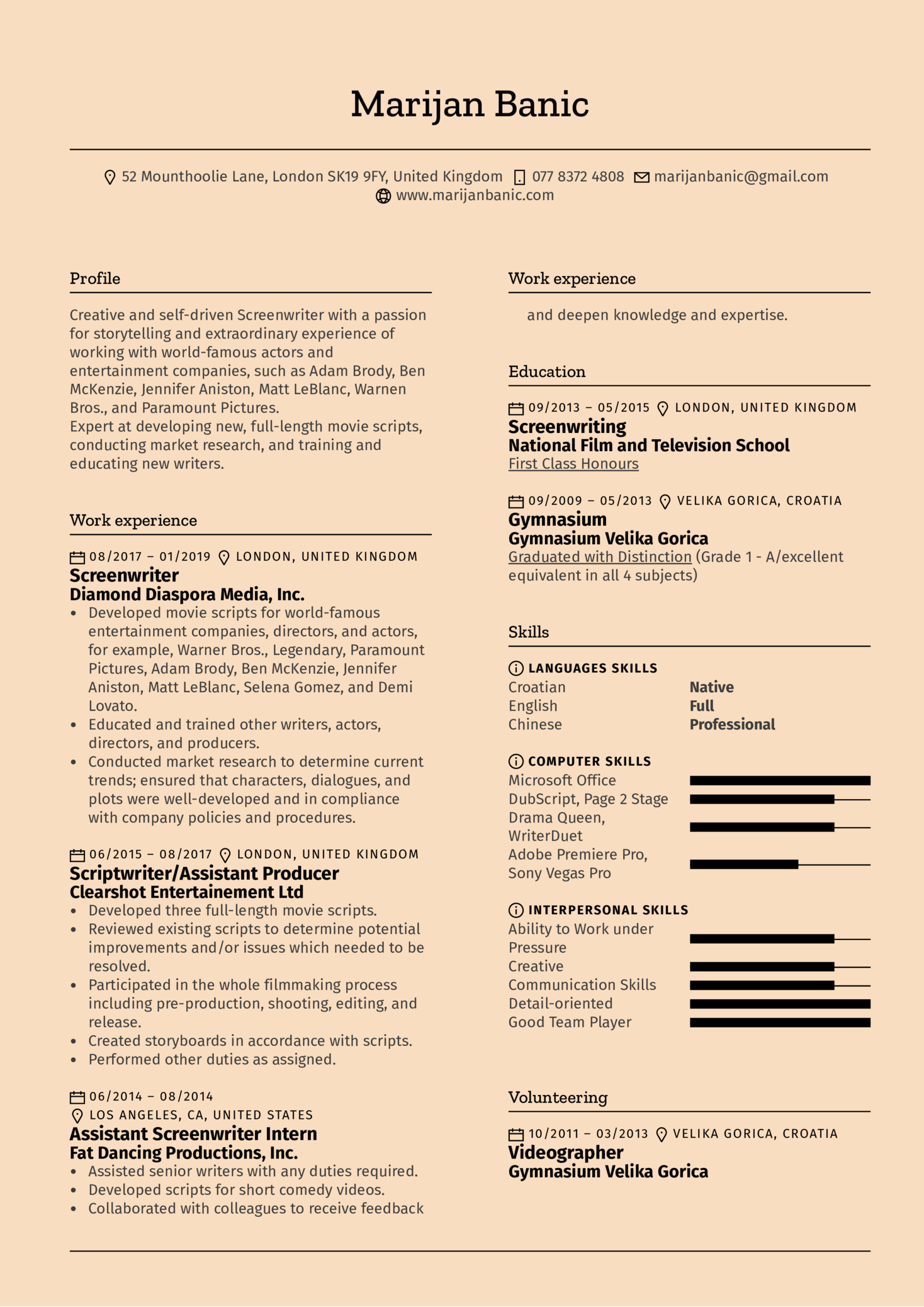 Screenwriter Resume Template (Teil 1)