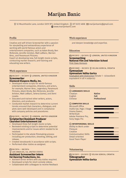 Screenwriter Resume Template