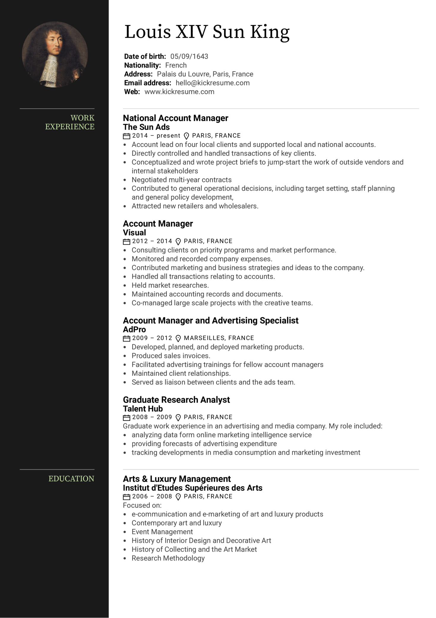 advertising account manager resume sample