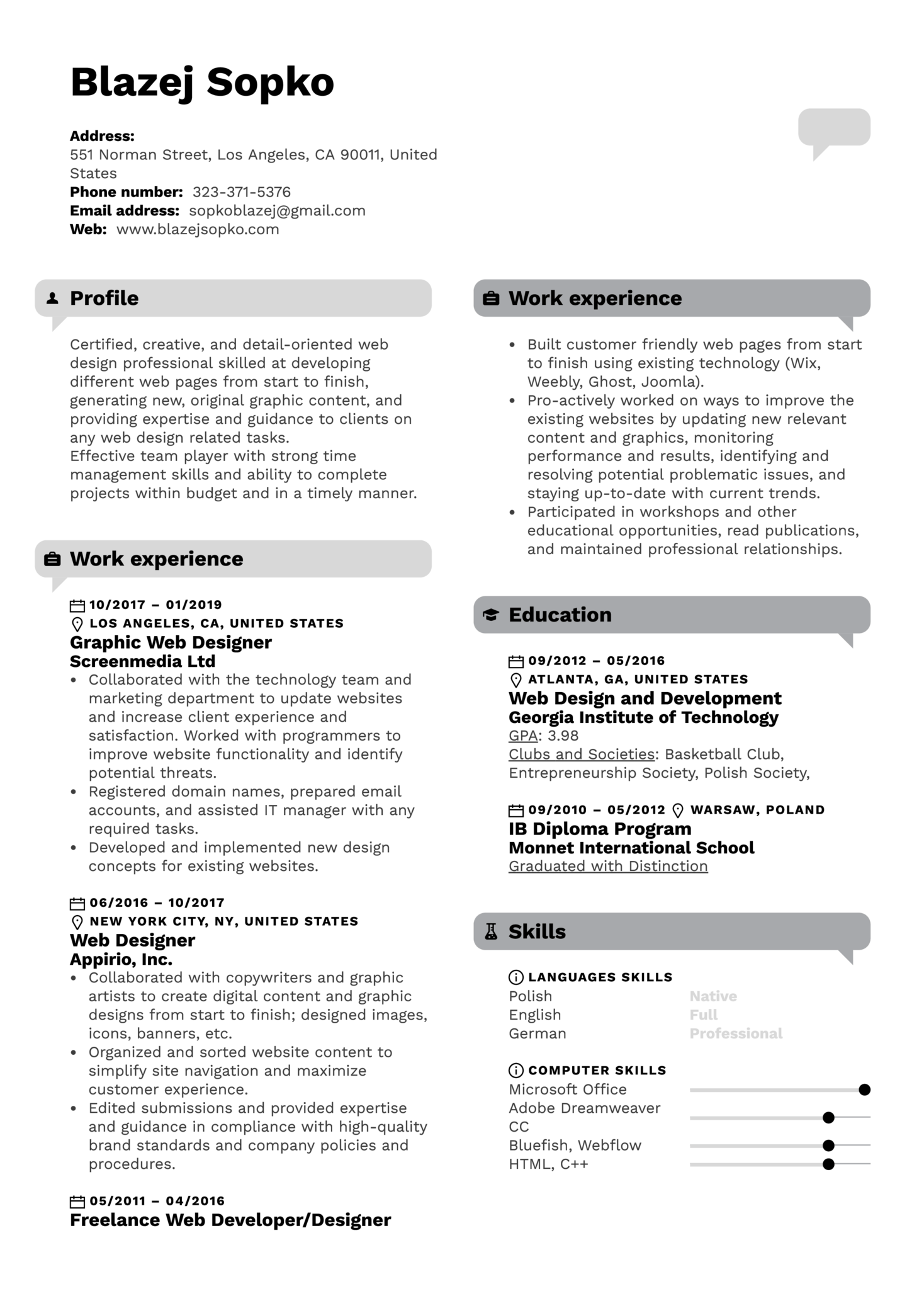 Graphic Web Designer Resume Template
