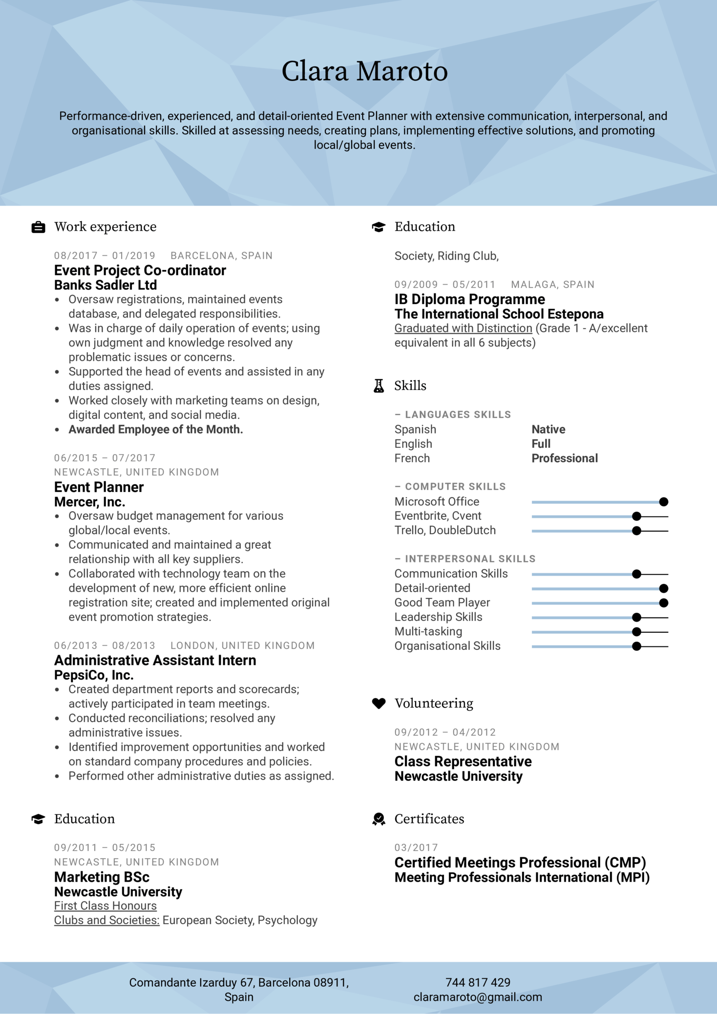 resume examples by real people  event planner resume