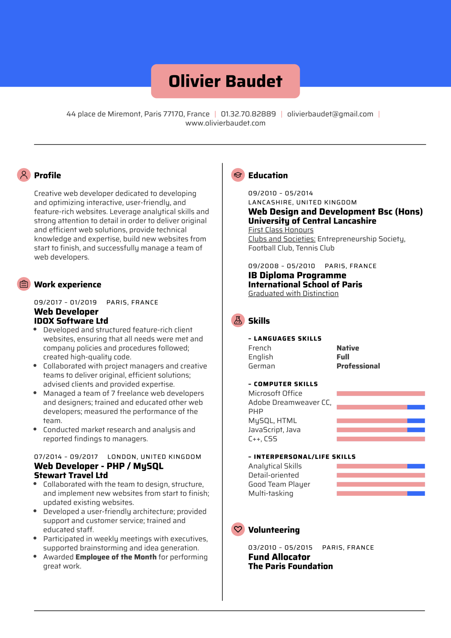 Web Developer Resume Template Kickresume
