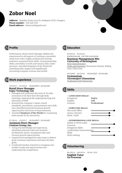 Retail Store Manager Resume Template