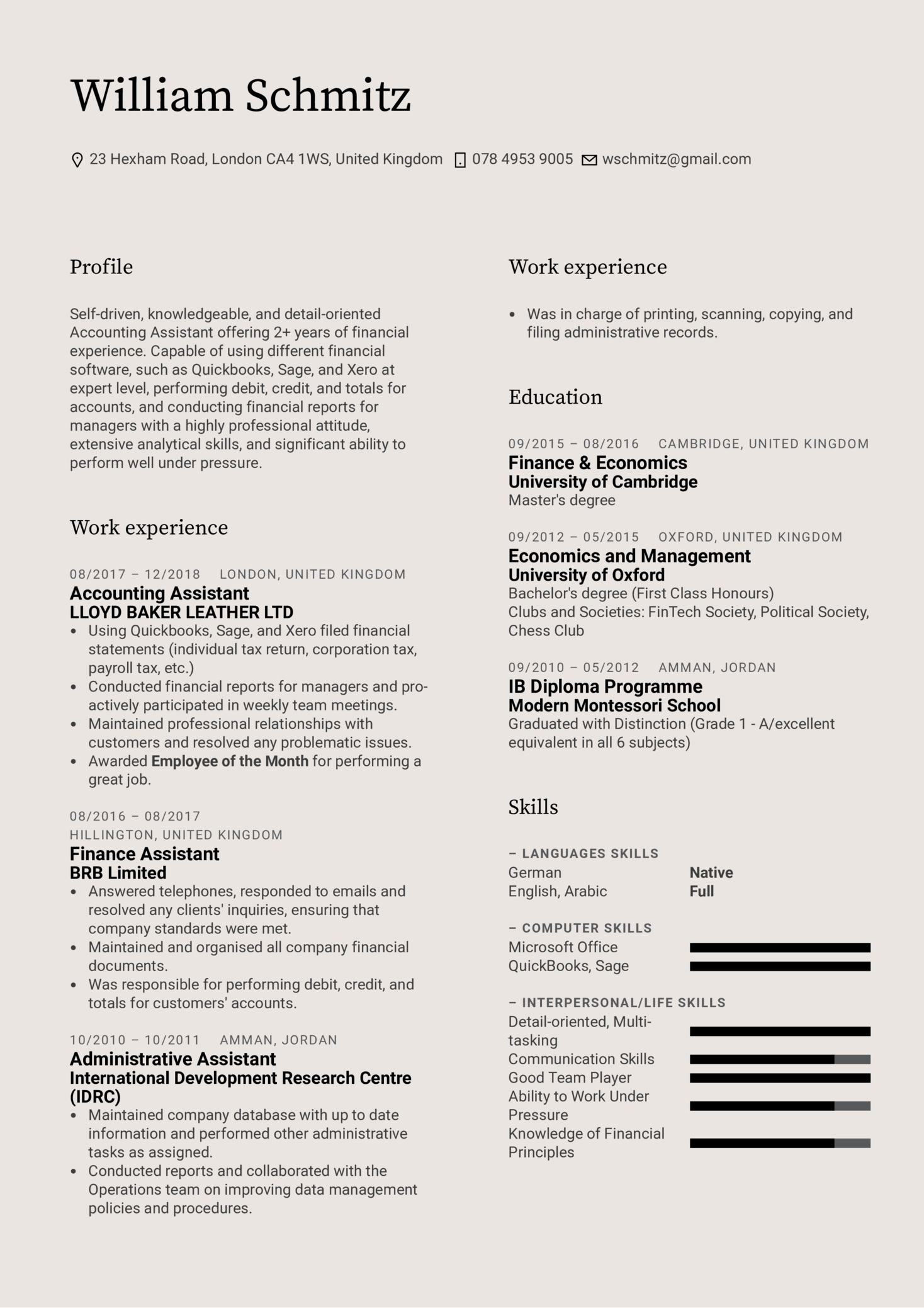 Accounting Assistant Resume Template (Part 1)
