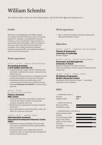 Accounting Assistant Resume Template