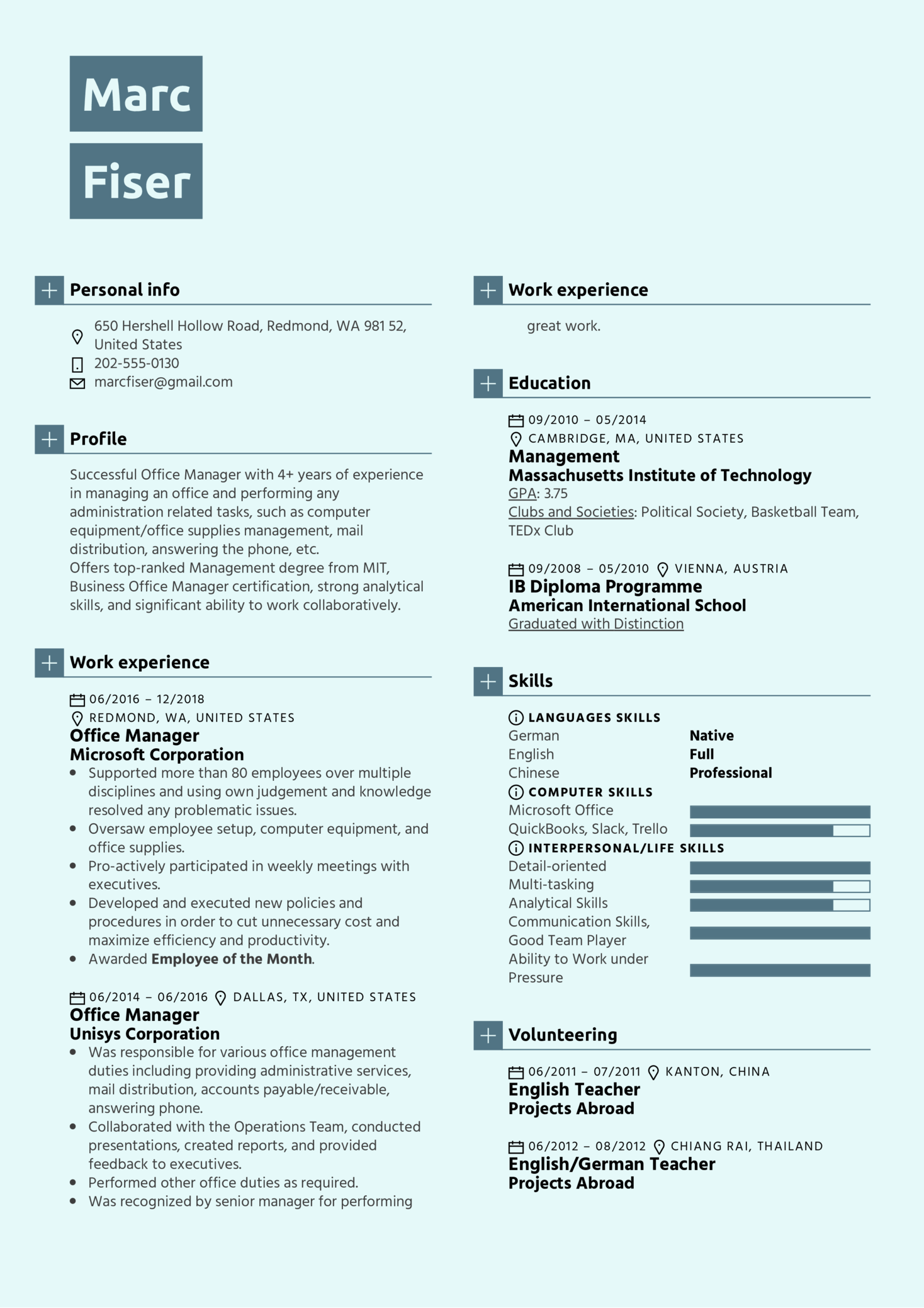 Office Manager Resume Template (Part 1)