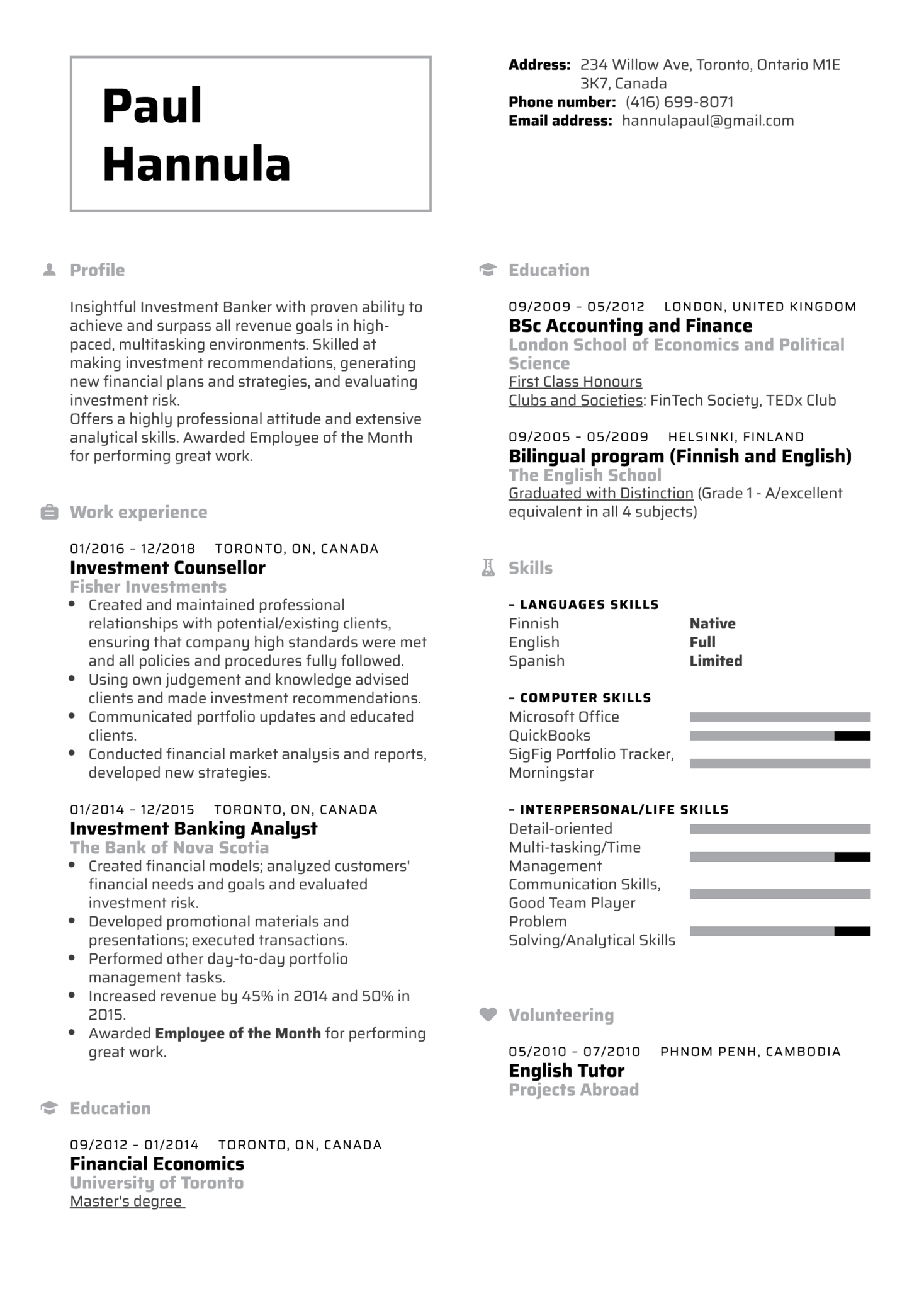 resume examples by real people  investment banker resume