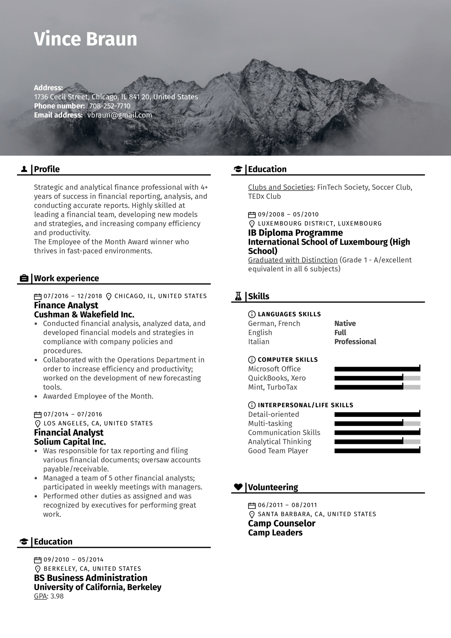 financial analyst resume template