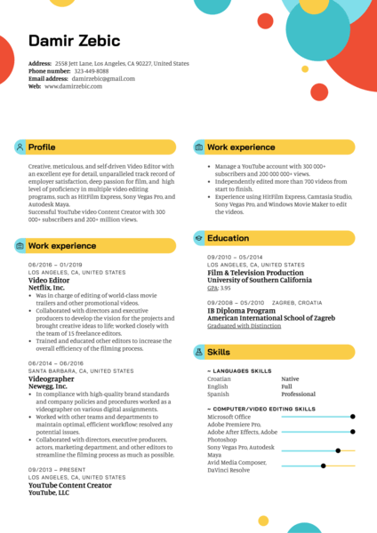Video Editor Resume Template
