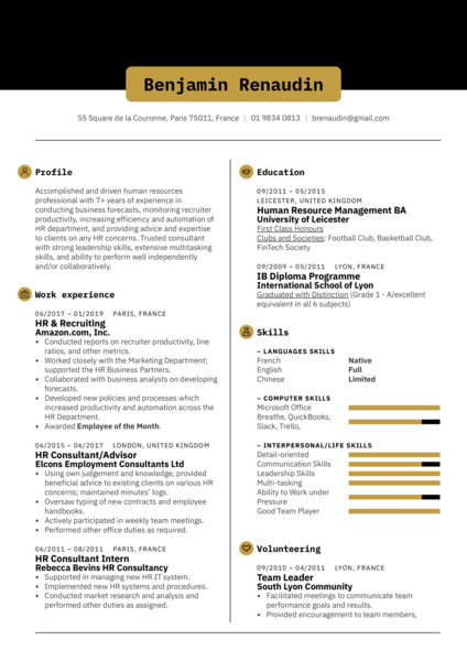 HR Consultant Resume Template