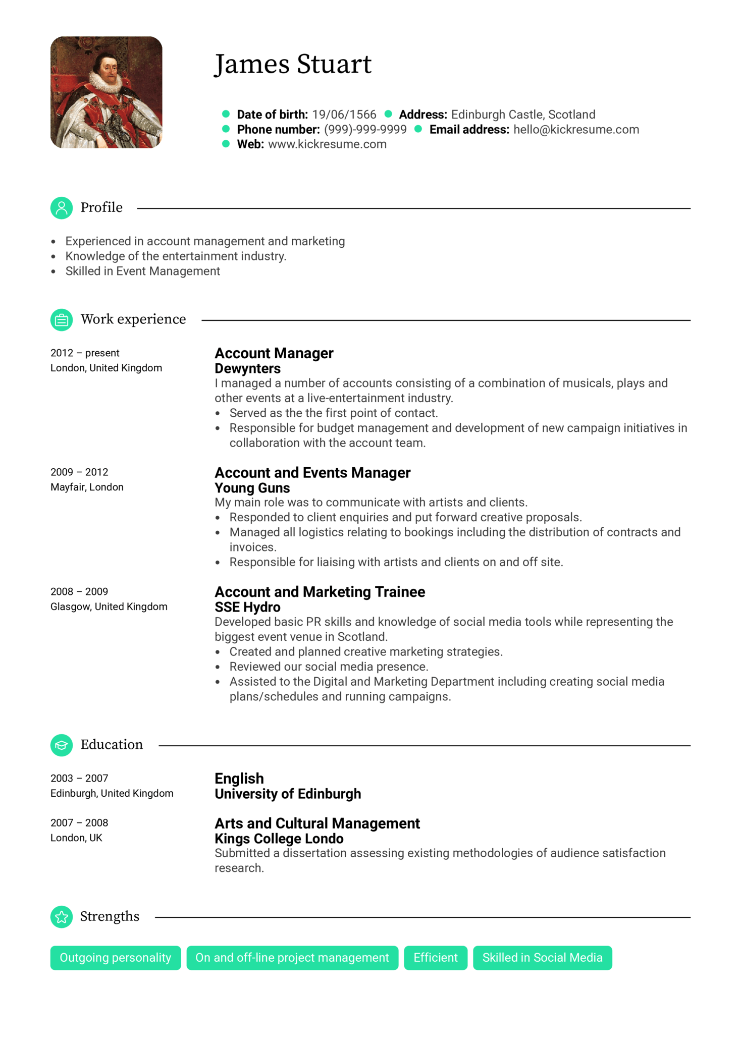 resume examples by real people  entertainment account