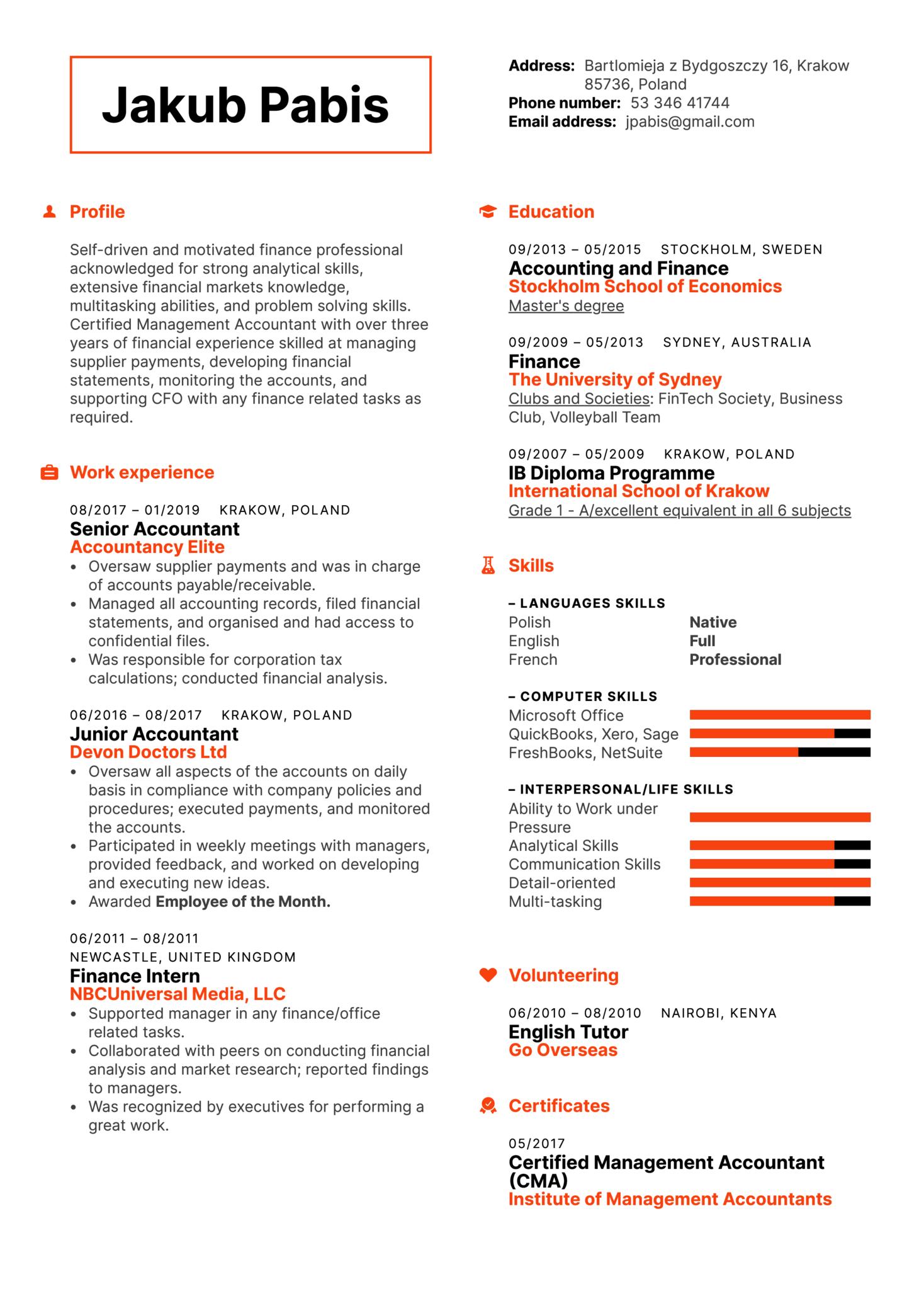 Senior Accountant Resume Template