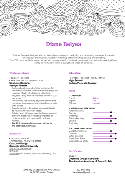 Costume Designer Resume Template