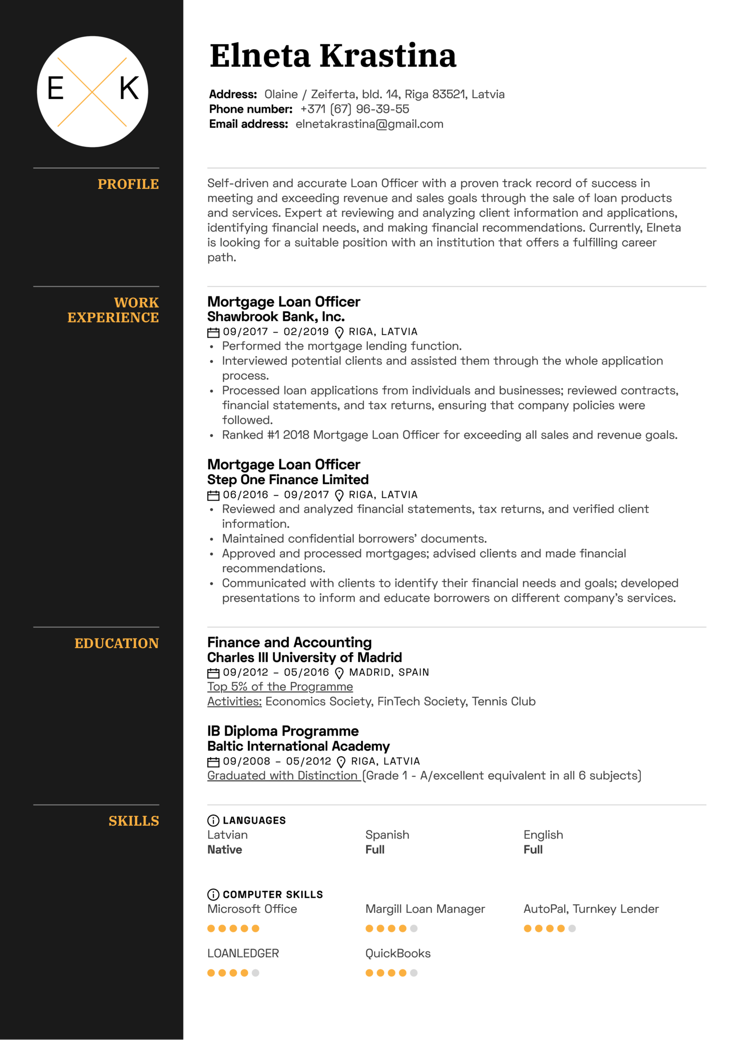 Mortgage Loan Officer Resume Sample