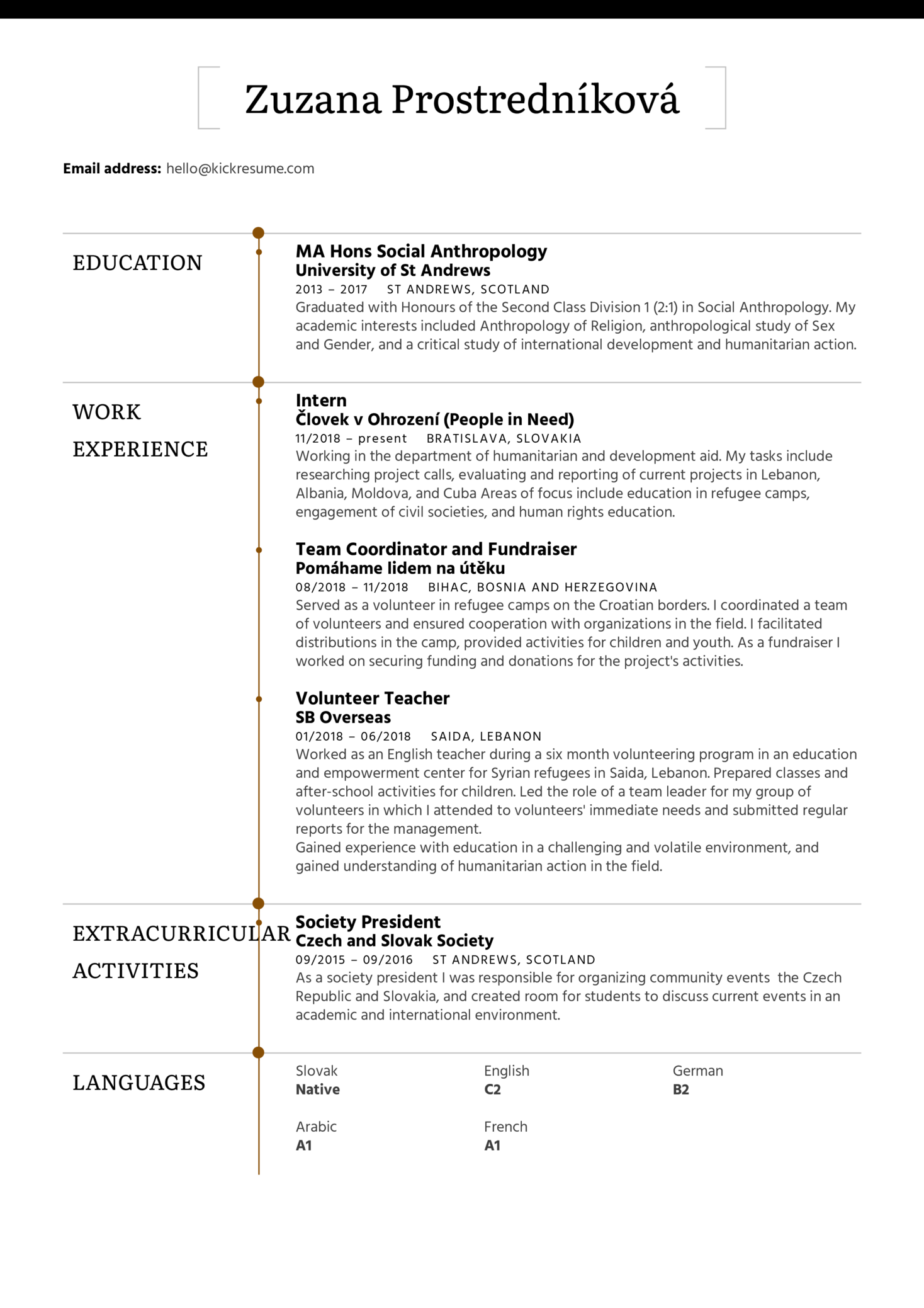 Refugee Volunteer Resume Sample