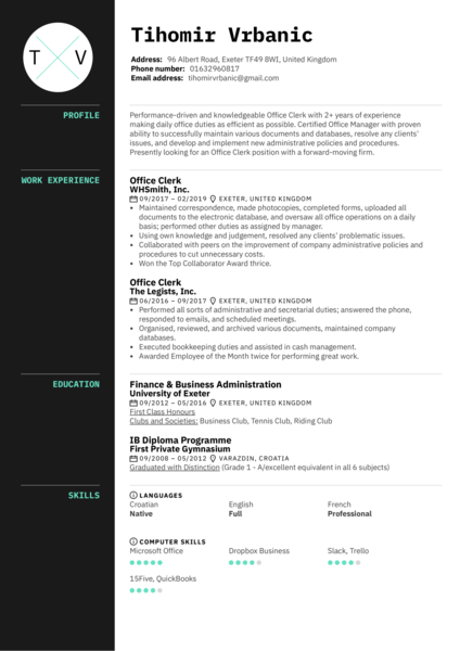 Office Clerk Resume Template