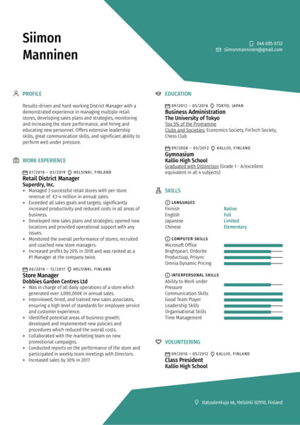 District Manager Resume Sample