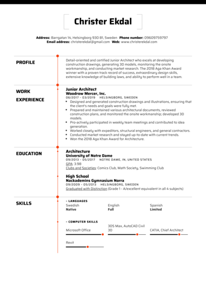 Junior Architect Resume Sample