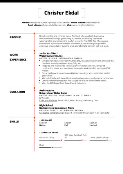 Junior Architect Resume Sample