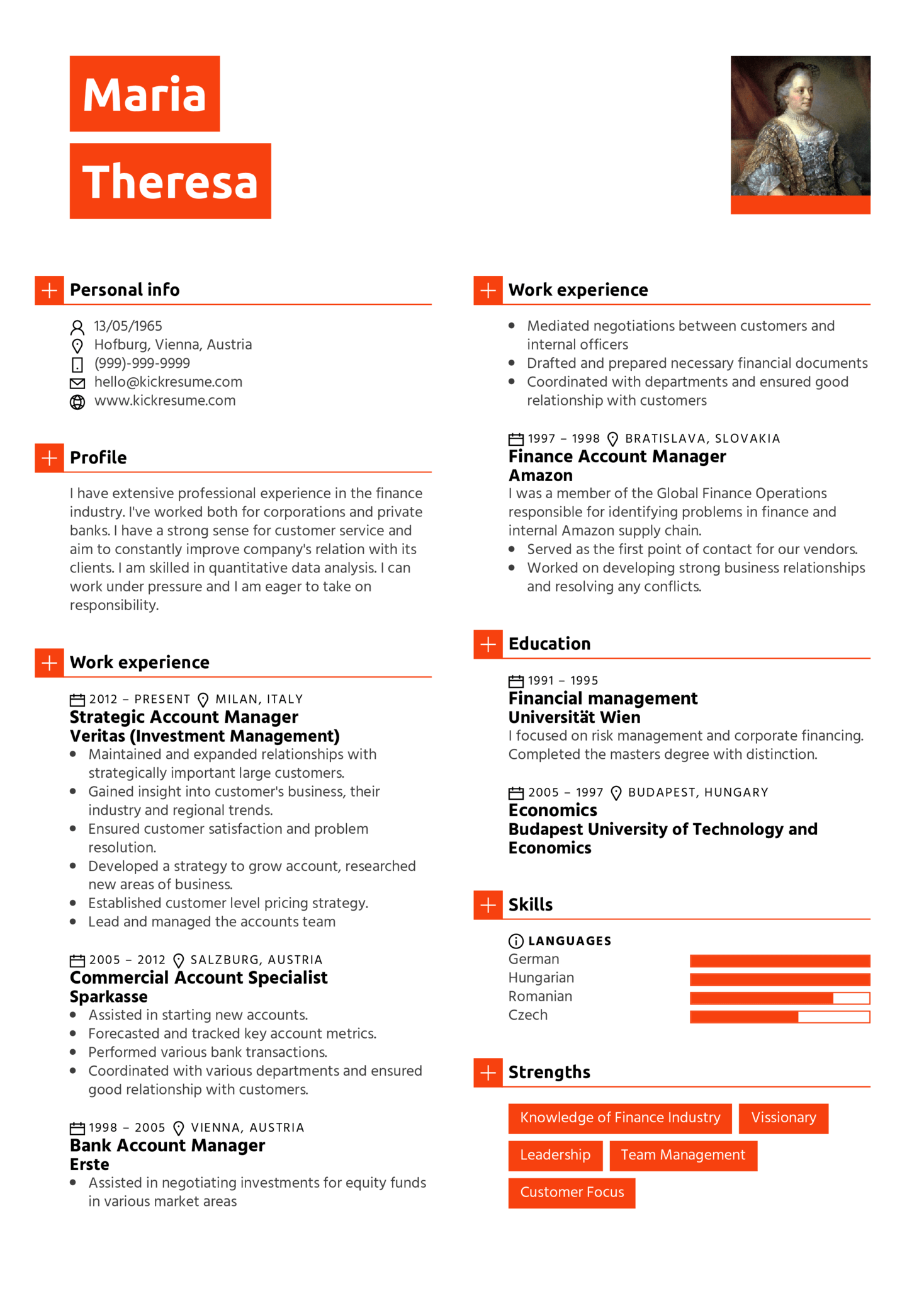 Finance Account Manager Resume Sample | Resume samples | Career help ...