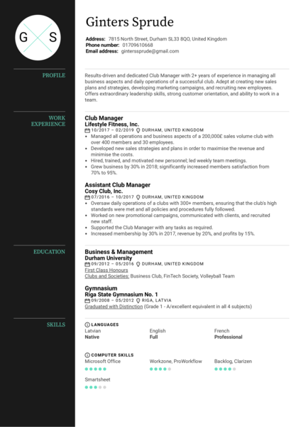 Club Manager Resume Sample