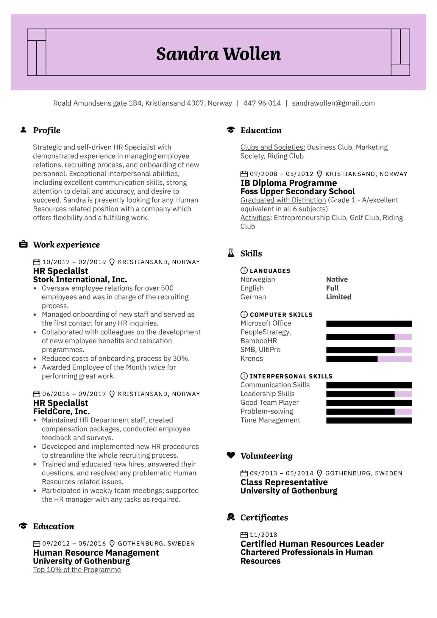 Resume Examples By Real People Human Resources Resume