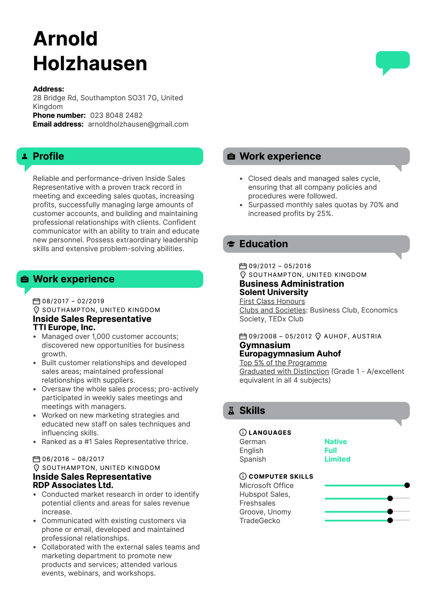 Resume Examples By Real People Inside Sales Representative