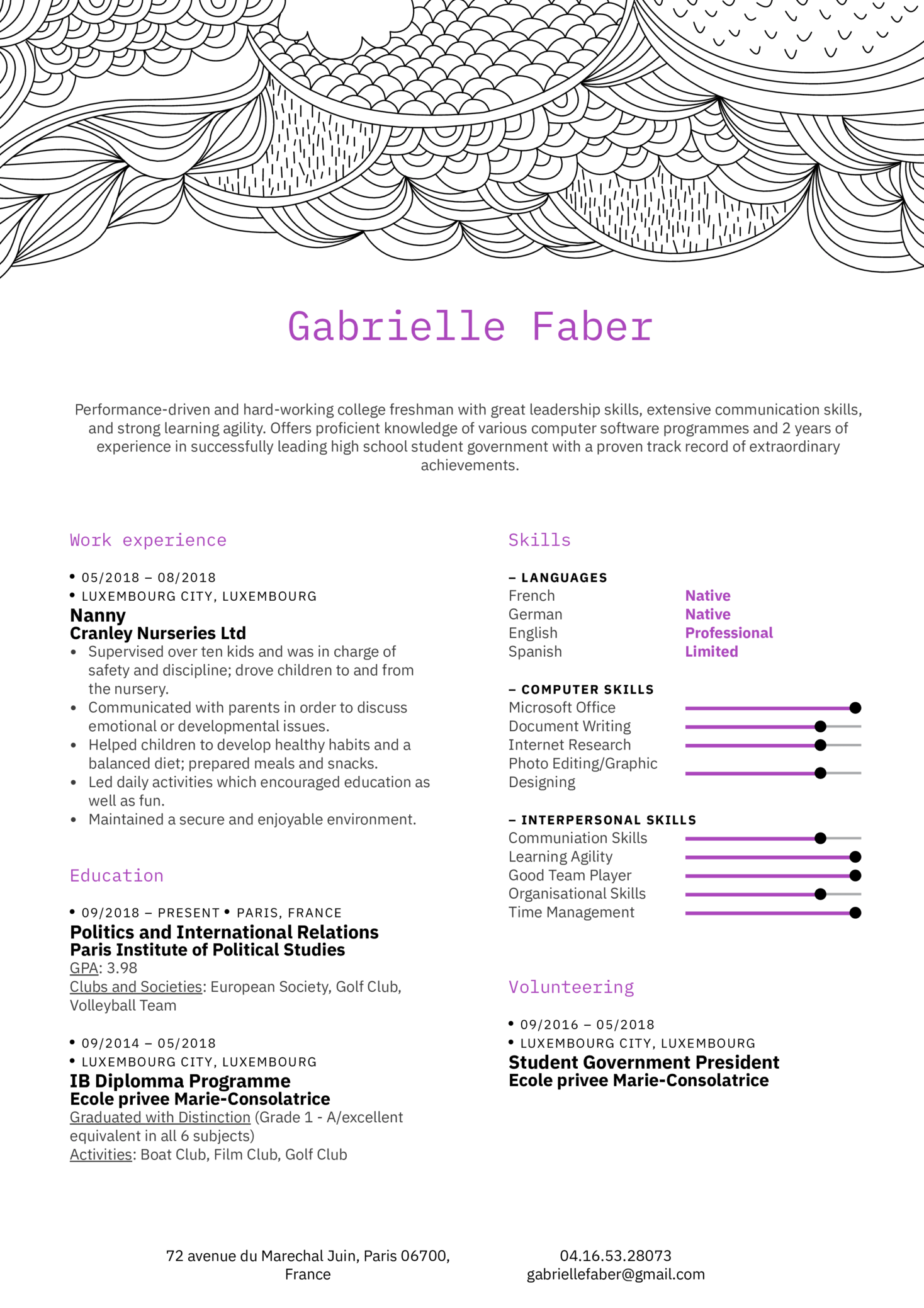 Fresher Resume Sample Kickresume