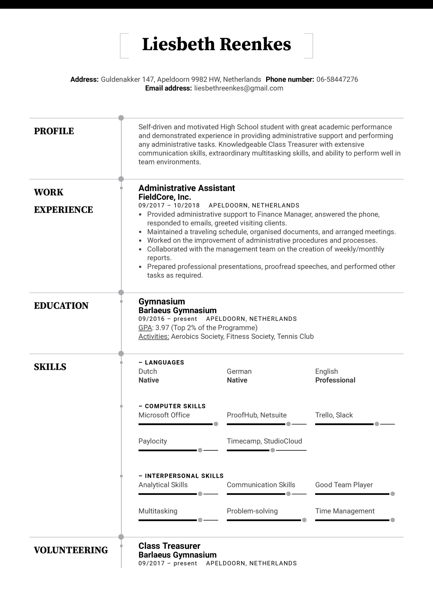 High School Resume Template Kickresume