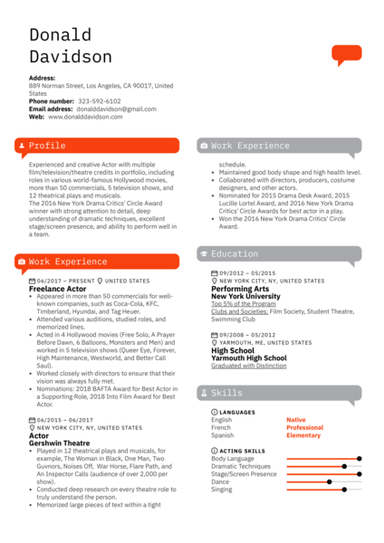 Actor Resume Template