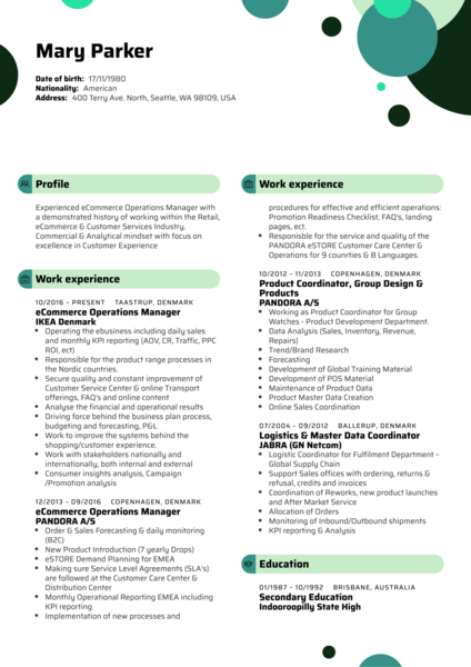 IKEA eCommerce Operations Manager Resume Sample