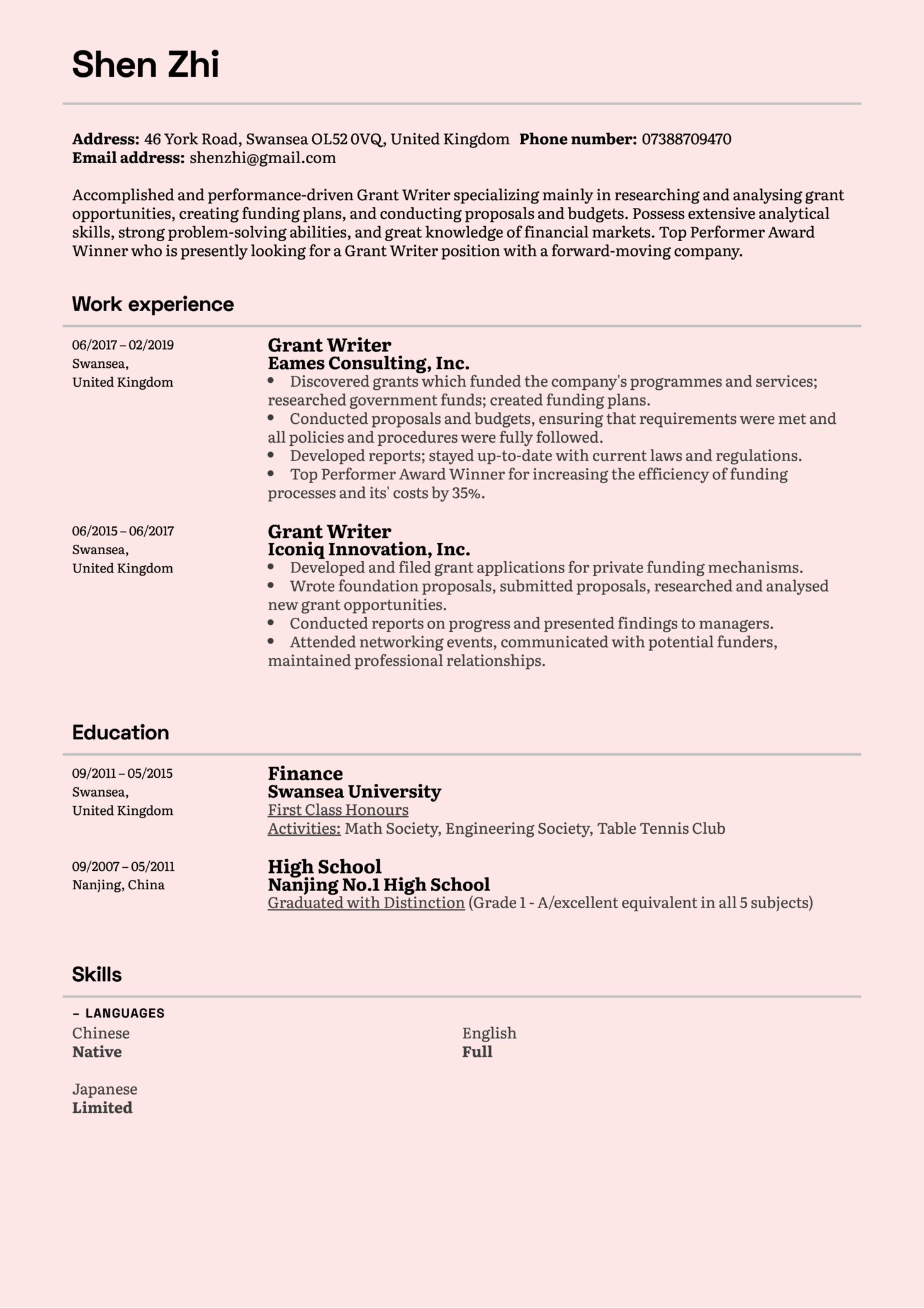 resume examples by real people  grant writer resume sample