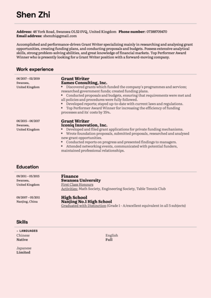 Grant Writer Resume Sample