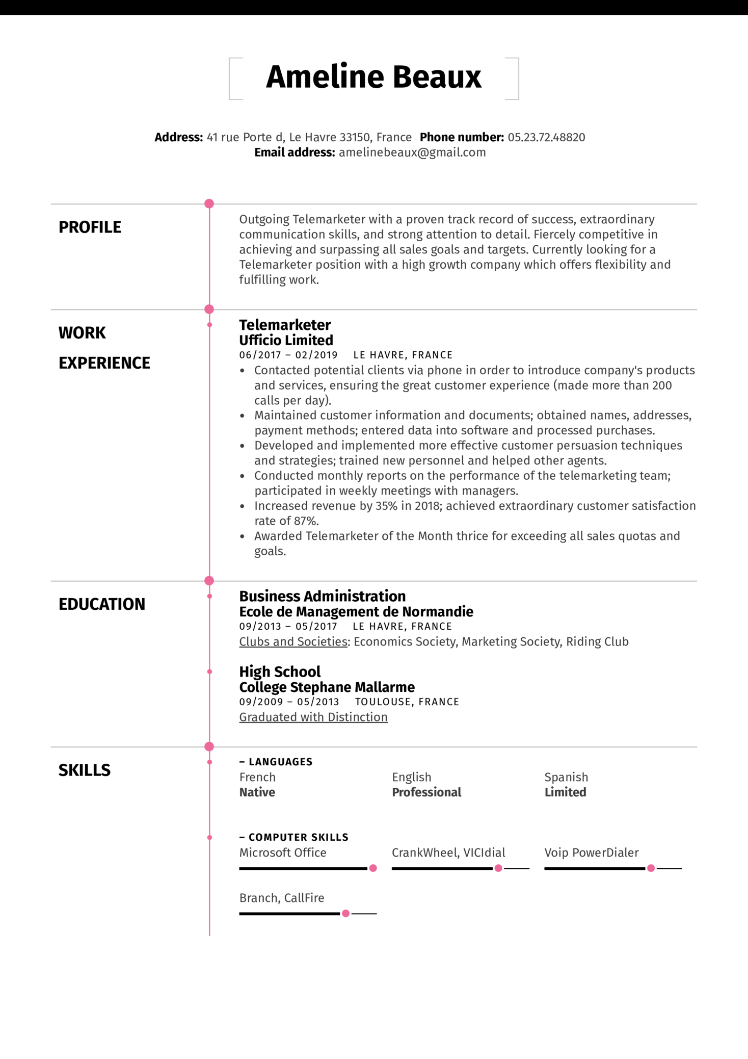 Telemarketer Resume Sample