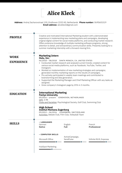 Marketing Intern Resume Example